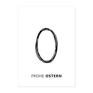 Design Postkarte FROHE OSTERN von muoko design. Mit hochwertigem schwarz-weiß Druck auf Recyclingpapier.