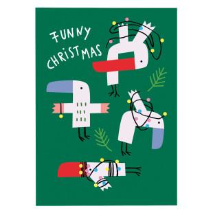 Weihnachtspostkarte FUNNY CHRISTMAS: die lustige Weihnachtskarte aus 300g Recyclingpapier von noull. Postkarten Made in Germany.