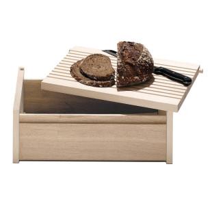side by side Brotkasten aus Ahorn- und Eichenholz. Der herausnehmbare Deckel kann als Schneidebrett verwendet werden.