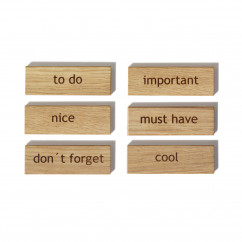 Holzmagnete aus Eiche - Modell: Words - side by side Design - 6er Set - gravierte Wörter aus Holzmagnet: nice, to do, don´t forget, cool, important und must have.