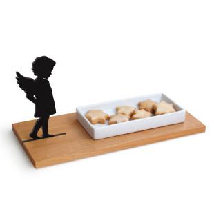 Keksschale Engel von side by side Design. Ein Brettchen aus Holz, mit Schälchen für Plätzchen und eine Engel-Silhouette.