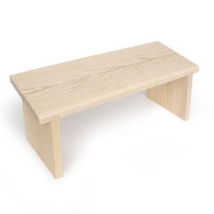 Kleine Meditationsbank aus Holz mit schräger Sitzfläche - Eschenholz - side by side Design