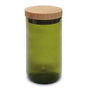 Vorratsglas - Weinflasche - Glas grün - side by side - Design - 450 ml - Holzdeckel aus Eiche - geschlossen