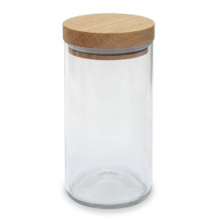 Vorratsglas - Weinflasche - Glas transparent - side by side - Design - 450 ml - Holzdeckel aus Eiche - geschlossen