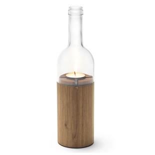 side by side Weinlicht klarglas: obere Teil des Teelichthalters besteht aus einer echten Weinflasche, der untere Teil aus massivem Eichenholz.