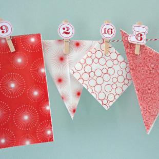 Adventskalender Set, Kordel, Klammern und Tüten zum selbst Befüllen - rot / weiß