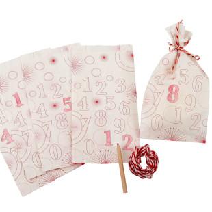DIY Adventskalender inkl. Buntstift und Kordel - 24 Adventstüten aus Papier von sinnwert