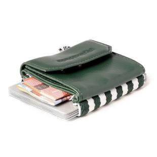 Mini Geldbeutel Space Wallet Push TROPIC GREEN. Mit gestreiften Gummizugband für Kreditkarten. Kleine Mini Geldbörse in dunkelgrün für Kleingeld, Geldscheine und Kreditkarten.