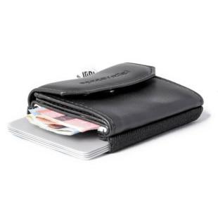 Mini Geldbeutel schwarz - Modell Push - Leder VEGAN - Geldbörse für Kleingeld, Geldscheine und Karten - Space Wallet Push Vegan night guard - extra kleiner Geldbeutel