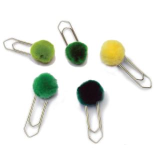 Büroklammern / Lesezeichen Pompon groß, 5er-Set grün