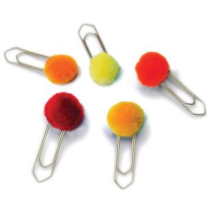 Büroklammern / Lesezeichen Pompon groß, 5er-Set rot-orange-gelb