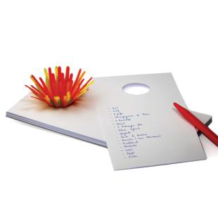 Notizblock zupf, mit Papierblume orange auf Saugnapf