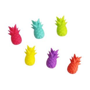 Lets Party! Die bunten Ananas Glasmakierer von Winkee. Design Glasmarker Pineapple - Silikon Ananas 6er-Set.